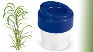Biologische koffiebekers met bedrukte deksel