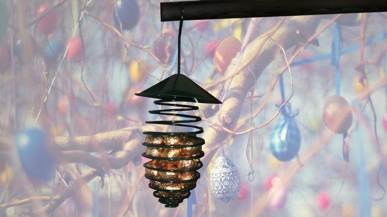 Vogel voederveer met chocolade eitjes