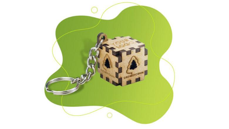 3D kubus sleutelhanger met dennenzaden