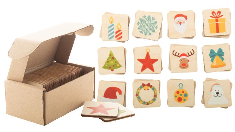 Duurzaam kerstmis memoryspel met logo